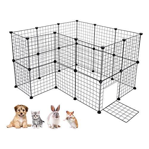 DIY Freigehege Laufstall Erweiterbarer Welpenauslauf aus Metall für Kleintiere und Meerschweinchen Schwarz Diverse Größe (12/24 / 36 Stück ) (24 Stück) -