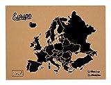 Miss Wood Woody Map L Karte von Europa aus Kork, schwarz (Schriftzug in englischer Sprache)