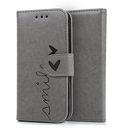 iPhone 8 Brieftasche Hülle,Vandot Leder Tasche Rosa Mandala Flip Case Schutzhülle mit Standfunktion und Magnetverschluss für iPhone 8 / iPhone 7 (4,7 Zoll) Bookstyle Flip Wallet Cover Handyhülle Karte Abnehmbare Grau