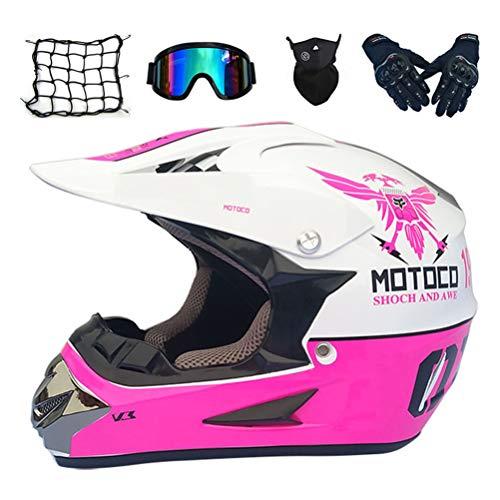 MRDEAR Kinder Motocross Helm Motorradhelm Junge Mädchen Crosshelm Full Face Dirt Bike ATV Motocross Off Road Racing Helm Handschuhe Brille Maske Motorrad Netz, Rosa und Weiß,S