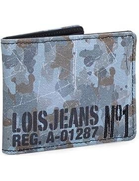 LOIS - 11209 Cartera Monedero Billetero Tarjetero caballero lona estampada. Portamonedas con cremallera. 4 compartimentos...