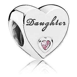Pandora Damen-Bead Daughter-Herz 925 Silber Zirkonia rosa – 791726PCZ
