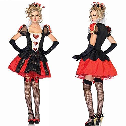 KAIDILA Halloween Cosplay-Herz-Königin Kostüm Königin Kostüm Alice Shop Nachtetappe Outfit Kostüm