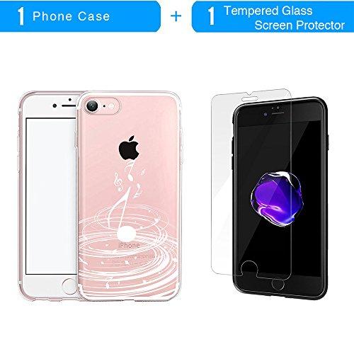 iPhone 7 Hülle, TrendyBox Transparent Weiche TPU Ränder mit hartem PC Rückdeckel Schutzhülle Hülle für iPhone 7 mit Gehärtetem Glas Displayschutzfolie (Weiße Musik) 108