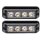 Linchview Frontblitzer 4W LED 12V/24V Auto Warnleuchten Blitzlicht Stand Licht Cargo Truck Strobe Leuchten mit 16 Blitzmuster (4 LEDs 4W) (Gelb)