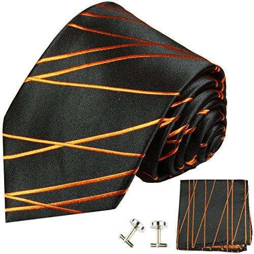 Cravate homme orange noir rayée ensemble de cravate 3 Pièces ( longueur 165cm )