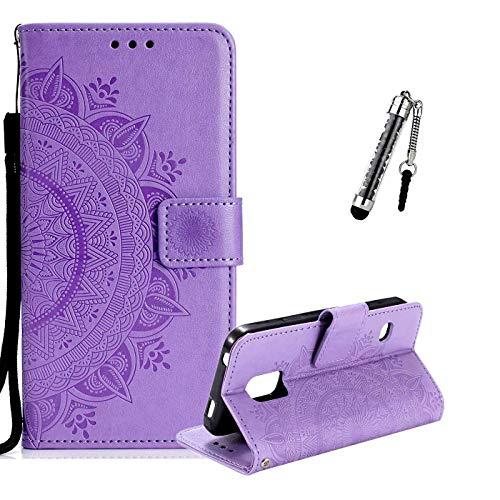 ZCRO Leder Hülle für Samsung Galaxy S5, Handyhülle für Samsung Galaxy S5, Handytasche Flip Case Hülle Leder Magnet Tasche Schutzhülle für Samsung Galaxy S5 (Lila)