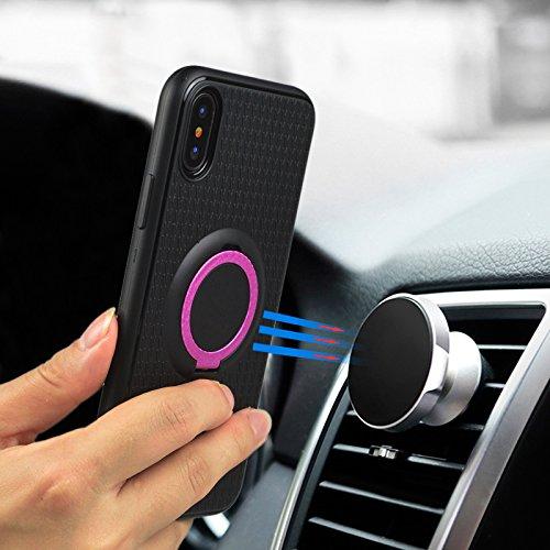 iPhone X Hülle, Einfach Schwarz Einfarbig Muster Design Handycover für Apple iPhone X/iPhone 10 5.8 Zoll, Ultra Dünn TPU Weich Silikon Handy Hülle Handycover Schale Schutzhülle mit Standfunktion Ultra Lila