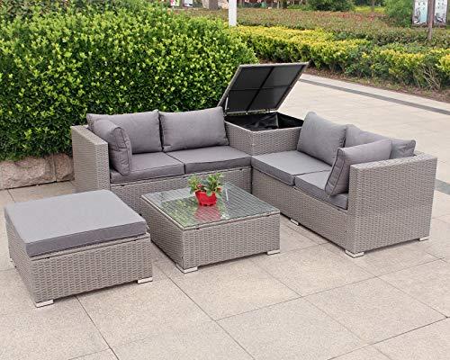 Hansson.Sports Rattan Polyrattan Lounge Sitzgruppe Garnitur Gartenmöbel aus 4 Sitze Sofa, Aufbewahrungsbox für Kissen, Hocker und Tisch mit Glassplatte -