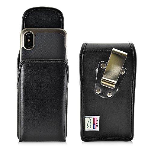 iPhone X, Turtleback iPhone X 10Gürtel Fall, Tasche mit Gürtel Clip, in Leder und Nylon-Made in USA, Black Leather/Metal Clip Vert