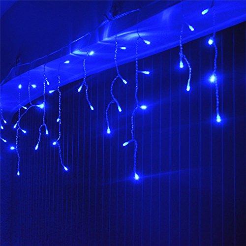 VINGO 15m 400 LED Eiszapfen Lichterkette Blau Twinkle Romantisch Weihnachtschmuck für Weihnachten Hochzeiten Wedding Fassaden