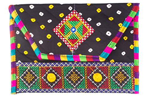 Ole Fashion Beautiful Embroidered Traditional bandhni Kathyawadi Style Sling Bag for Girls Women (Black)  available at amazon for Rs.279