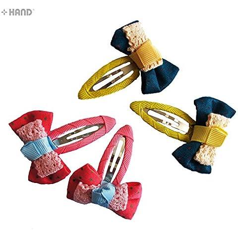 HAND BHC01 hermoso de la cinta arco de pelo clips colores surtidos Pack de 2 pares