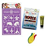 """Pack maquillage """"Indien"""" sans paraben: 1 Pochoir + 12 Crayons de maquillage + 1 Gel pailleté + 3 Ballons Blumie"""