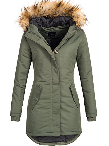 DESIRES Damen Envy Parka lange Jacke Designer Winter-Mantel mit Kapuze aus hochwertigem Material 3785 CLIMB IVY S