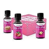 Flave drops | Flavour Drops zuckerfrei | für Wasser zum Kochen & Backen | flüssig Süßstoff | Gym Queen Flavdrops | Tasty Drops- Vorteilsbox 3x30ml | Vanille + Butterkeks + Erdbeere