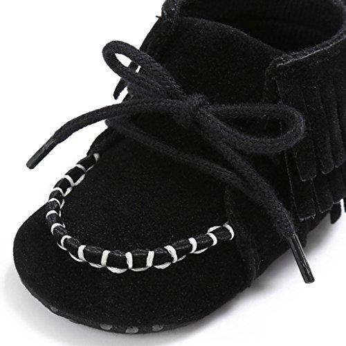 Igemy 1Paar Neugeborene Troddel Soft Sole Schuhe Baby Jungen Mädchen Anti-Rutsch Kleinkind Krippe Prewalker Schwarz