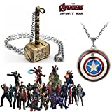 #7: 2 Pc AVENGER SET - THOR HAMMER - GOLD COLOUR & CAPTAIN AMERICA REVOLVING SHIELD IMPORTED METAL PENDANTS WITH CHAIN ❤ LATEST ARRIVALS - RINGS, KEYCHAINS, BRACELET & T SHIRT - CAPTAIN AMERICA - AVENGERS - MARVEL - SHIELD - IRONMAN - HULK - THOR - X MEN - DC - BATMAN - SUPERMAN - SPIDERMAN - DEADPOOL - FLASH - WONDER WOMAN - BLACK PANTHER - DOCTOR STRANGE - THANOS -STARLORD - GAMORA - DRAX - ROCKET - GROOT - MANTIS - WAR MACHINE - VISION - SUPER HERO ❤