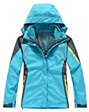 3 In 1 Funktionsjacke Damen Gefütterte Softshelljacke Wasserdicht Outdoor Winter Jacke Hellblau L