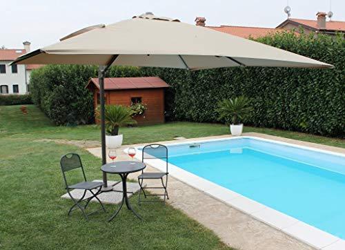 Milani home s.r.l.s. ombrellone da giardino 3 x 4 palo laterale nero telo beige per esterno ristorante, gelateria bar hotel albergo