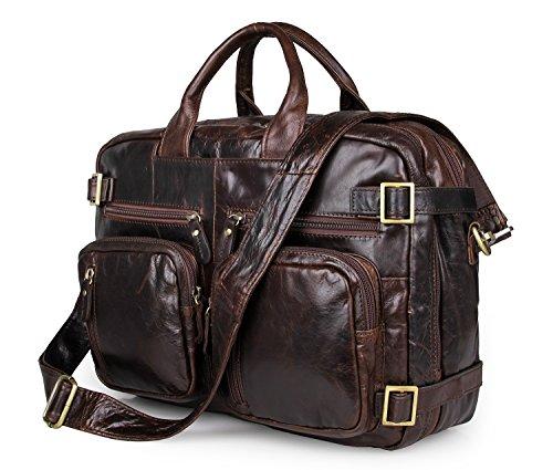 AB Earth pour Homme en Cuir Véritable Malette, sac d'ordinateur portable, sac à dos, sac de messager M43 (M43Darkbrown)