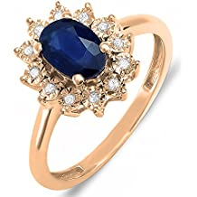 Kate Middleton Diana inspirado en 10 K oro de Diamond & Blue Sapphire Royal novia anillo