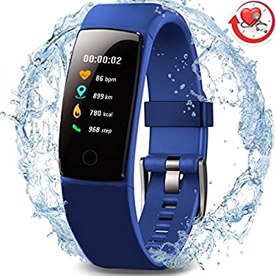 MorePro Waterproof Fitness Tracker, Color Screen Activity Tracker with Heart Rate Blood Pressure Monitor, Wearable Smart Bracelet Pedometer Watch with Sleep Monitor for Woman Men Kids by MorePro