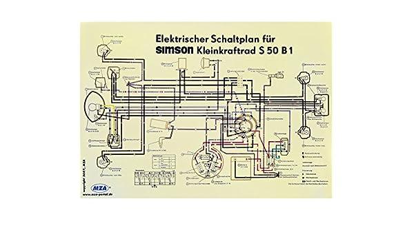 MZA Schaltplan Farbposter (69x49cm) Simson S50 B1: Amazon.de: Auto