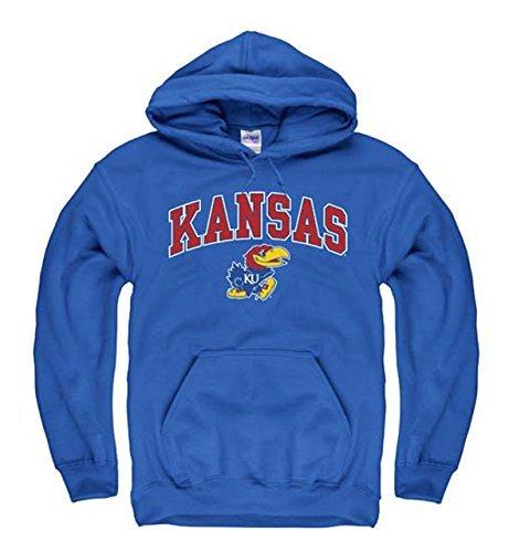 Campus Colors Campus Farben Kansas Jayhawks Erwachsene Arch und Logo Sweatshirt mit Kapuze-Royal, Herren, Blau, X-Large -