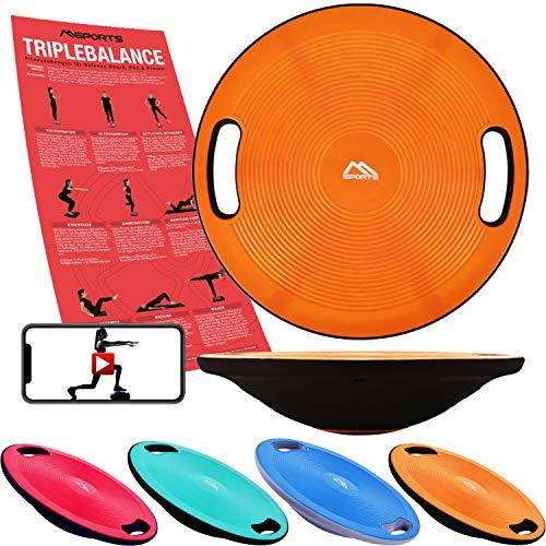 MSPORTS Balance Board Premium 40 cm Durchmesser inkl. Übungsposter und Work Out App GRATIS - Therapiekreisel Physiotherapie Wackelbrett (Orange)