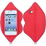 Weich silikon gummi Lippe hülle schale abdeckung case cover housing für iPhone 4 4G 4S_rot