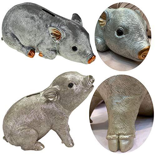 LS-LebenStil Spar-Schwein Polyresin Silber Grau 24cm Spardose Glücks-Schwein Spardose Sparbüchse