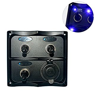 Amarine-made pn-tf3j-s Marine Electric 3-fach LED-Toggle Switch Panel mit 1Steckdose für Boot und RVS–pn-tf3j-s