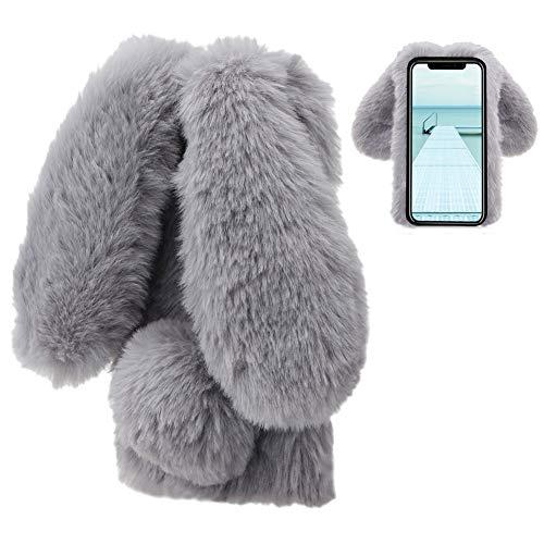 LCHDA kompatibel mit Plüsch Hülle iPhone X/iPhone XS Flauschige Hasen Fell Hülle Handyhülle Mädchen Süße Kaninchen Pelz Niedlich Hasenohren Handytasche Schützend Stoßfest TPU Silikonhülle-Grau -