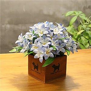LLPXCC Flores artificiales Creativo casa floral mesa de comedor salón moderno sencillo unión flores decorativas de madera jarrones plantas flores de plástico matrimonio estudio azucena azul