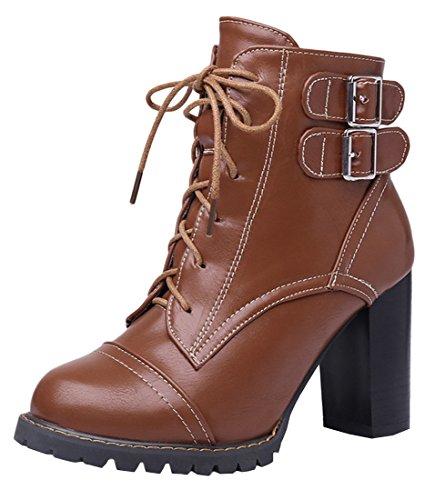YE Damen Chunky High Heels Stiefeletten Blockabsatz Plateau mit Schnallen Schnürung 9cm Absatz Herbst Winter Schuhe Short Ankle Boots Braun