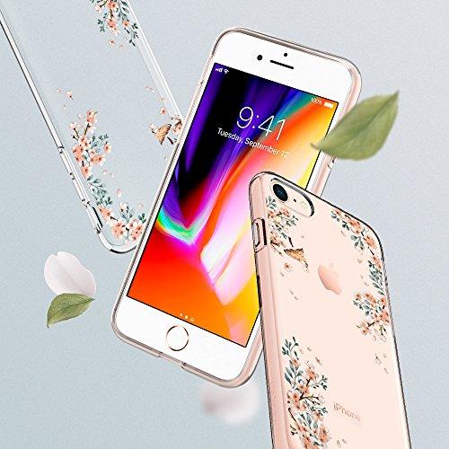 iPhone 7 Hülle, iPhone 8 Hülle, Spigen® [Liquid Crystal] Soft Flex Silikon [Crystal Clear] Transparent Ultra Dünn Schlank Bumper-Style Handyhülle Premium Kratzfest TPU Durchsichtige Schutzhülle für Ap LC Blossom Nature