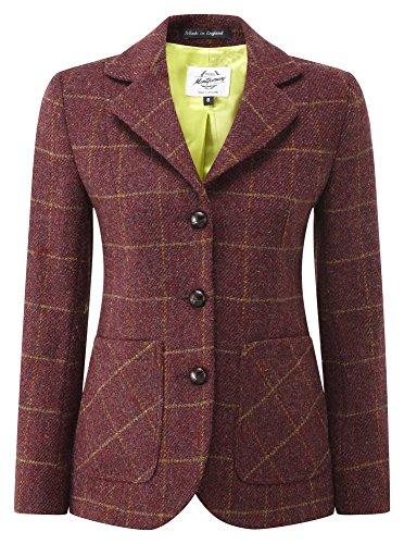 Original Montgomery Harris Tweed Jacke Damen, Größe 44, Burgund