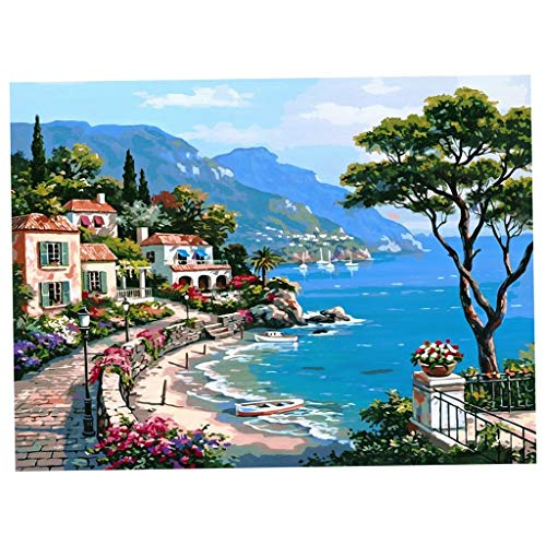 HASTHIP® DIY Digital Painting by Numbers Kit Unframed Mediterranean Style on Canvas Painting for Drawing Learning - #3, as described
