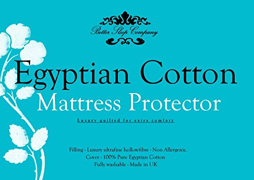 The Bettersleep Company Brand 42cm Extra Deep Side Skirt Egyptian Cotton Mattress Protector King Size – Hotel Quality Percale Cotton Supersoft Diamond Quilted & Anti Allergenic Extra Comfort & Protection