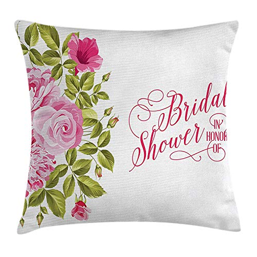 ZTLKFL Bridal Shower Decorations Throw Pillow Cushion Cover, Shabby Chic Flowers Roses Buds and Leaves Art, Decorative Square Accent Pillow Case, 18 X 18 inches, Hot Pink Light Pink and Green Light Pink Double Sided Satin