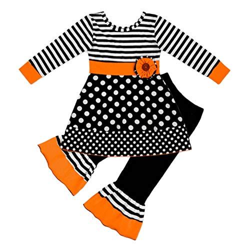 Baby Katze Weiße Kostüm - Baywell Kinder Langarm Halloween Kostüm Top Set Baby Kleidung Set Kleinkind Baby Mädchen Katze Kleider Tops Gestreiften Hosen Halloween Kostüm Outfits Set