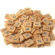 Generic Scrabble-Holzspielsteine lackierte Steine 100 St/ück f/ür Gesellschaftsspiele//Bastelarbeiten//Schmuckherstellung