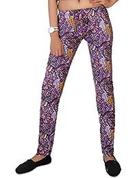 Comix Women Lycra Fabric Comfort Fit Ankle Length Printed Stylish Leggings (Purple,L)
