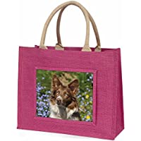 Red Border Collie Dog Large Pink Shopping Bag Christmas Present Idea