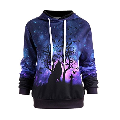ESALQ Damen Frau Wolf Digitaldruck Hoodie Pullover Halloween Baseball Mäntel Sweats