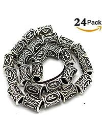 24 Unids Ancient Silver Norse Viking Hombre Mujer Rune Hair Beard Beads para Pulsera Collar Colgante DIY Accesorios