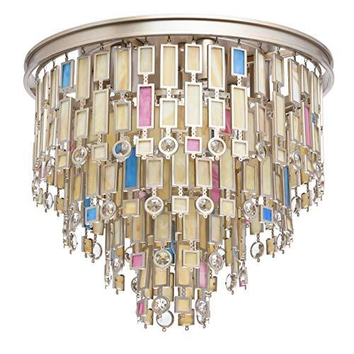 eckenleuchte Klassisch Metall Perlengold Dekor Buntes Glas 7 Flammig x 40W ()