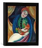 Gerahmtes Bild von Franz Marc Mädchen mit Katze II, Kunstdruck im hochwertigen handgefertigten Bilder-Rahmen, 30x30 cm, Schwarz matt