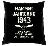 Soreso Design Geburtstagsgeschenk 75 Geburtstag :+: Geschenk Kissen & Urkunde :+: Hammer Jahrgang 1943 Farbe: schwarz